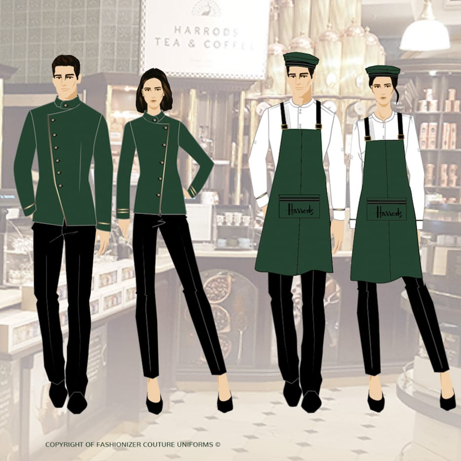 Harrods green uniforms